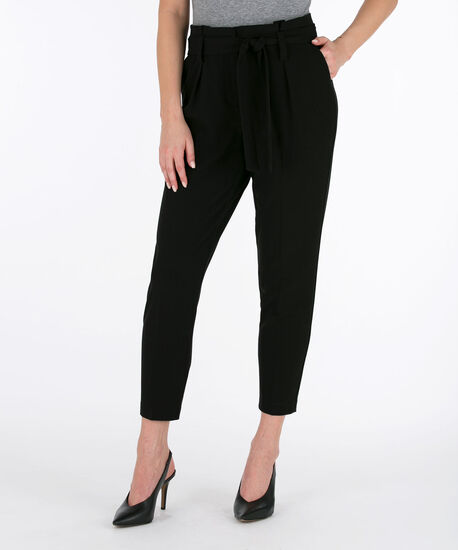 Tri-Blend Paper-bag Waist Ankle Pant, Black, hi-res