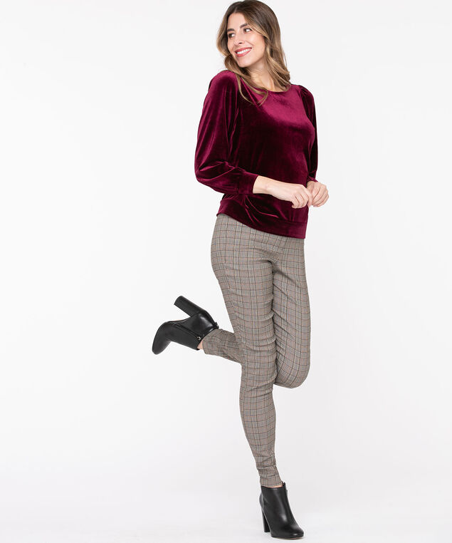 Velour Puff Sleeve Top, Windsor Wine
