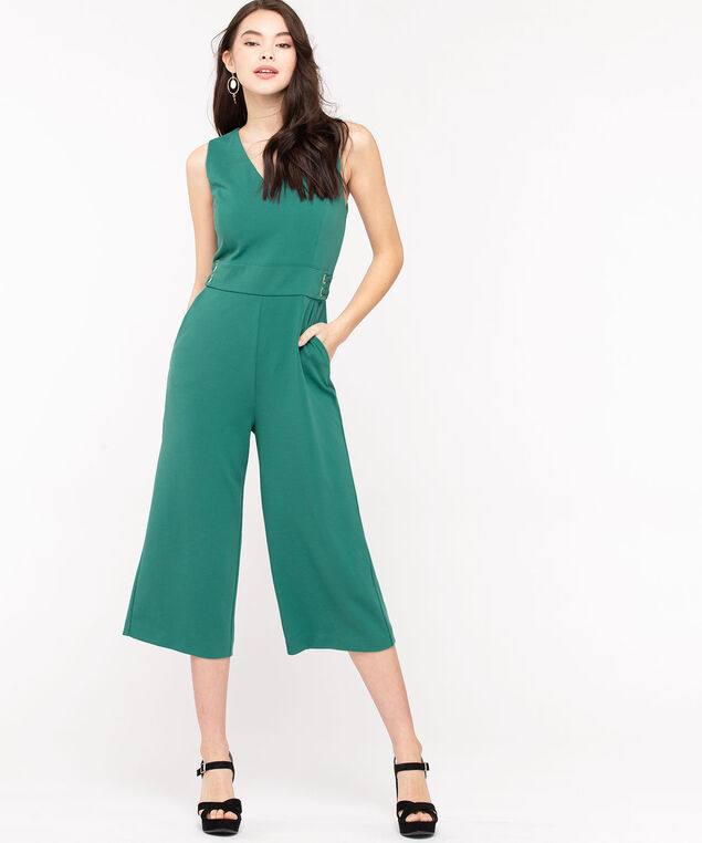Sleeveless Side Tab Crop Jumpsuit, Jade, hi-res