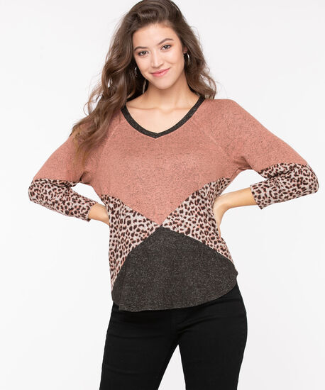 Colourblocked Lightweight Knit Pullover, Misty Rose/Grey Mix, hi-res