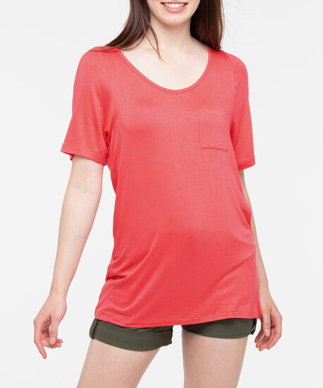 Short Sleeve Scoop Neck Cover Up, Watermelon, hi-res