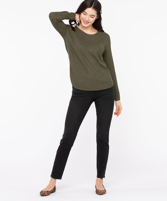 Ribbed Scoop Neck Sweater, Olive Night, hi-res