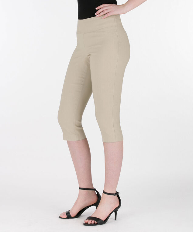 Microtwill Pull-On Capri, Taupe, hi-res