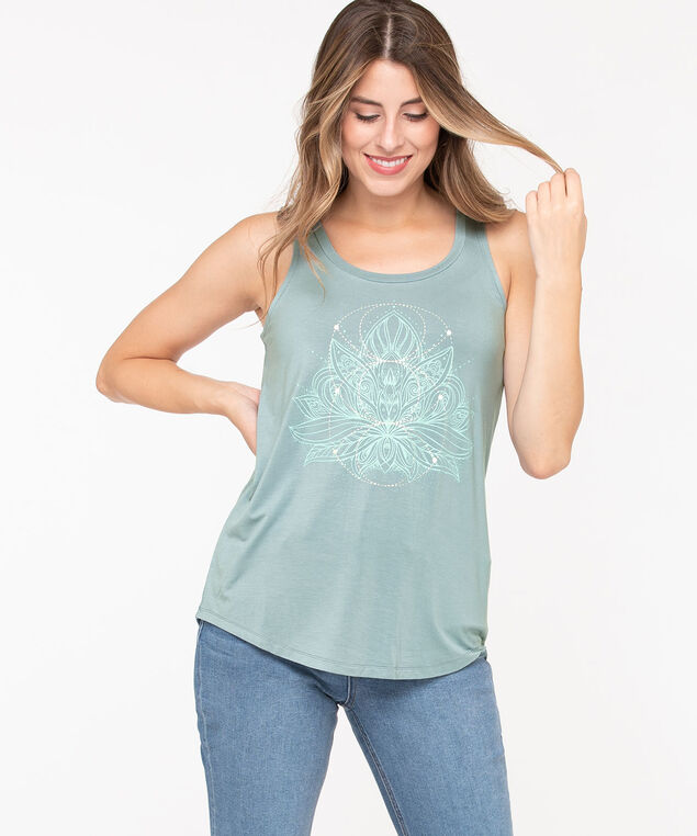Sleeveless Lotus Flower Graphic Top, Soft Blue, hi-res