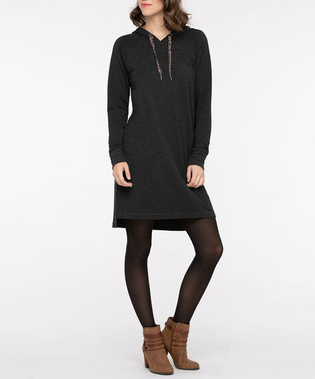 Leopard Drawstring Knit Hoodie Dress, Charcoal, hi-res