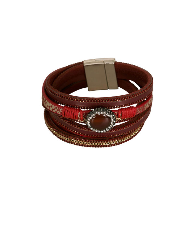 Painted Chain & Leather Wrap Bracelet, Poppy/Rhodium, hi-res