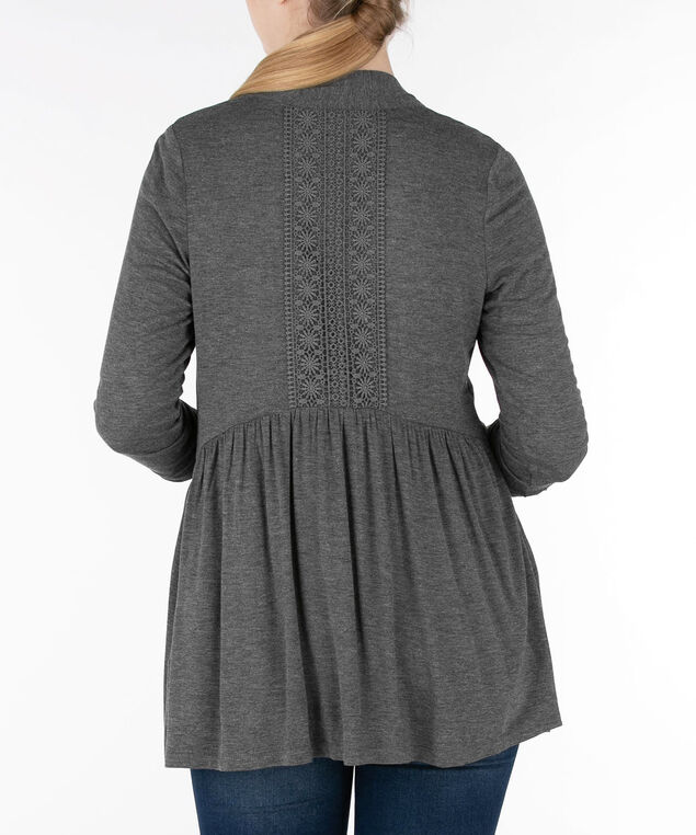 Crochet Back Open Cardigan, Grey, hi-res
