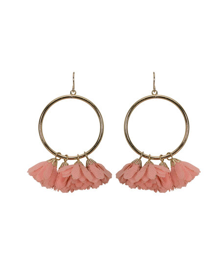 Flower Cluster Hoop Earring, Peach/Gold, hi-res