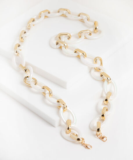 Pearlescent Chain Link Mask Chain, Pearl/Gold, hi-res