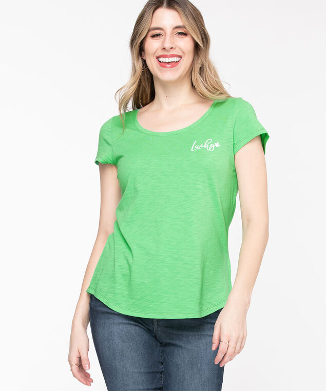 Scoop Neck Embroidered Graphic Tee, Irish Green/Lucky