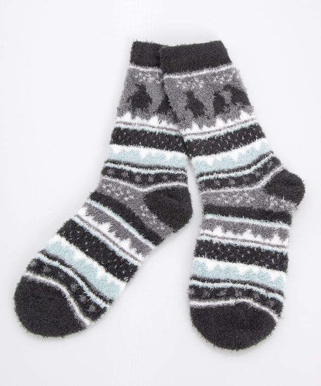 Fairisle Penguin Plush Socks, Grey/Charcoal/Sea Foam, hi-res