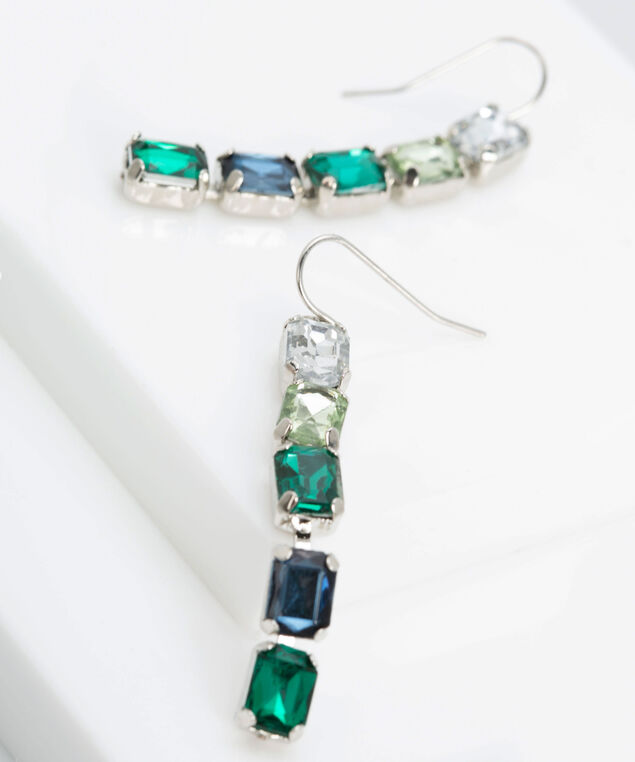 Faceted Stone Drop Earring, Rhodium/Seafoam/True Navy, hi-res