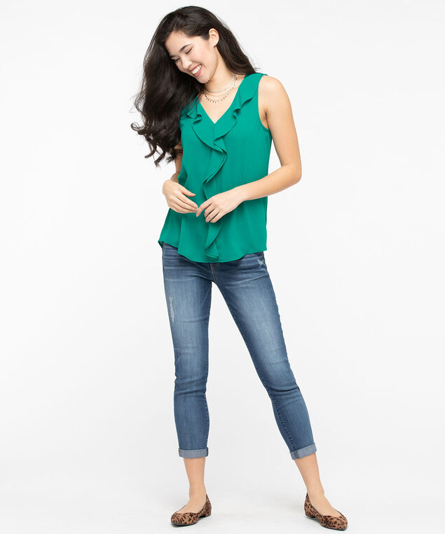 Sleeveless Ruffle Front Blouse, Jade, hi-res