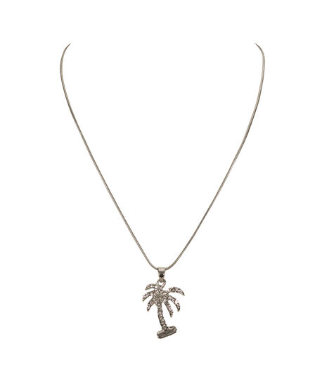 Crystal Palm Tree Necklace, Clear/Rhodium, hi-res