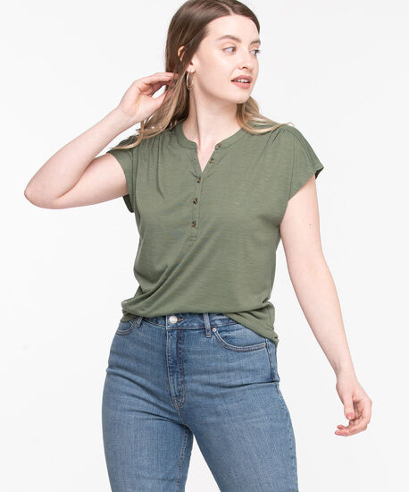 Short Sleeve Henley Tee, Forest Night, hi-res