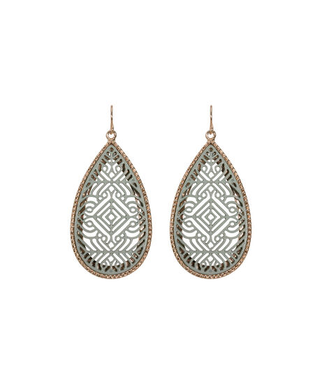 Painted Filigree Teardrop Earring, Grey/Soft Rose Gold, hi-res