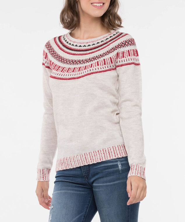 Fair Isle Pullover Sweater, Ecru/Crimson/Black, hi-res