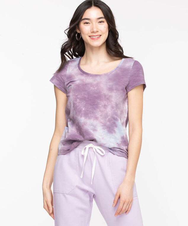 Scoop Neck Tie-Dye Tee, Purple Ash/Light Blue
