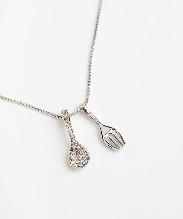 Fork & Spoon Necklace, Silver