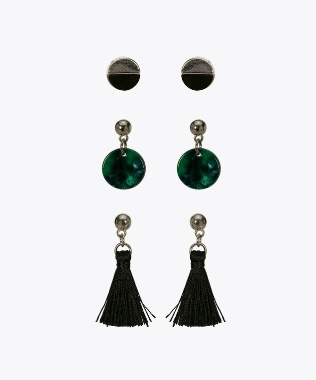 Earring Trio Set, Green, hi-res