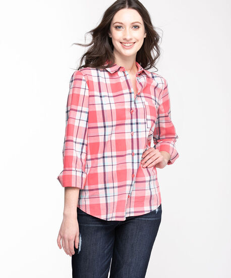 Classic Collared Button-Up Shirt, Rose Smoke Plaid, hi-res