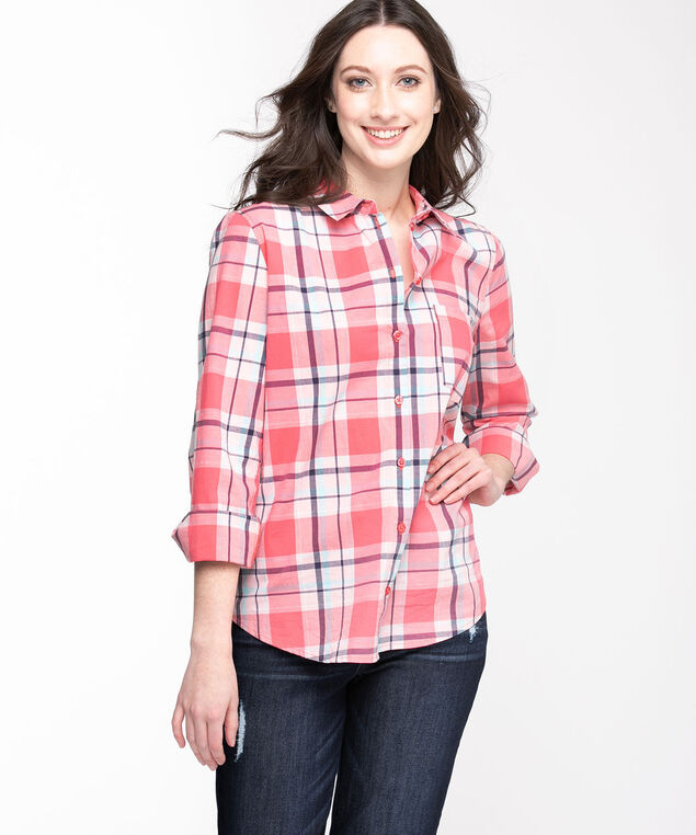 Classic Collared Button-Up Shirt, Rose Smoke Plaid