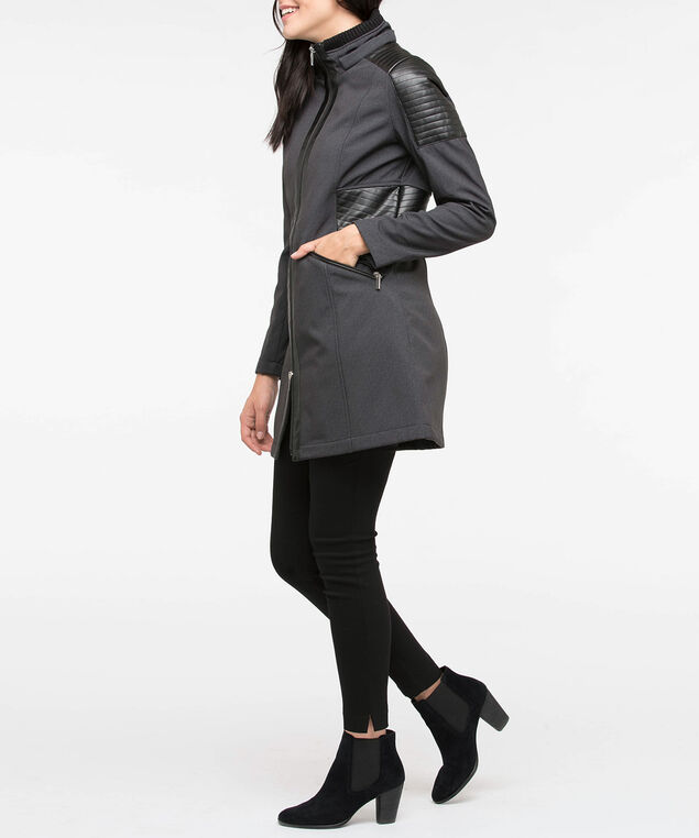 Herringbone Pleather Trim Jacket, Black Mix, hi-res