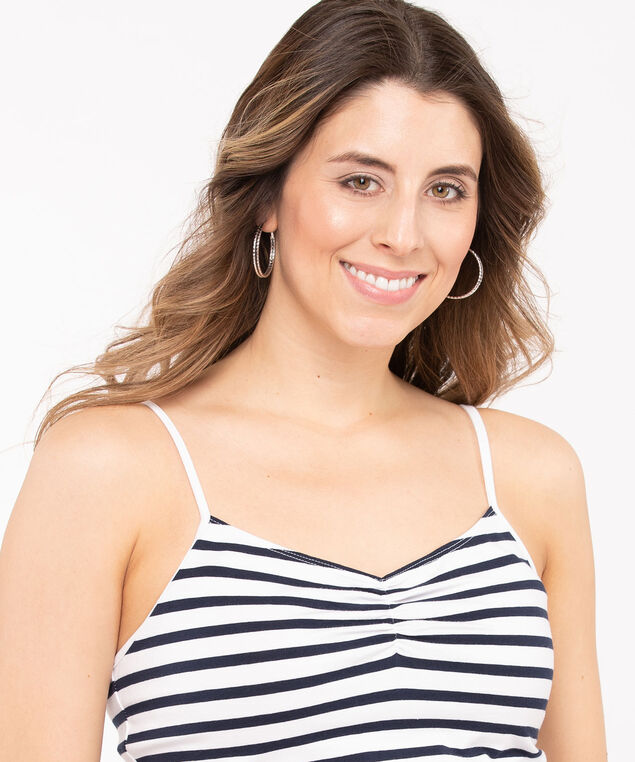 Strappy Ruched Neck Cami, Pearl/Summer Navy, hi-res