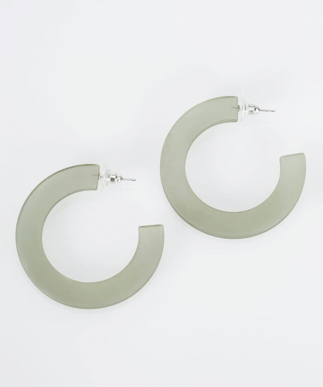Matte Resin Hoop Earring, Light Sage, hi-res