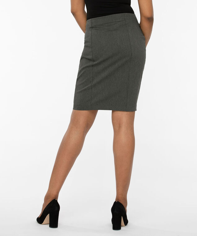 Microtwill Pull On Pencil Skirt, Slate, hi-res