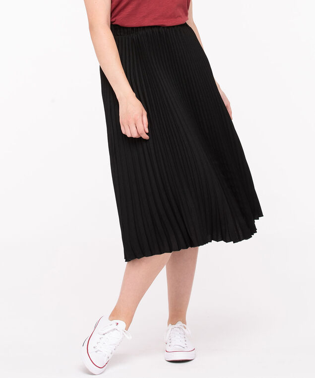 Pleated Midi Skirt, Black, hi-res