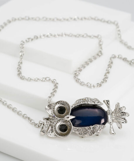 Natural Stone & Crystal Owl Necklace, Rhodium/Deep Sapphire, hi-res