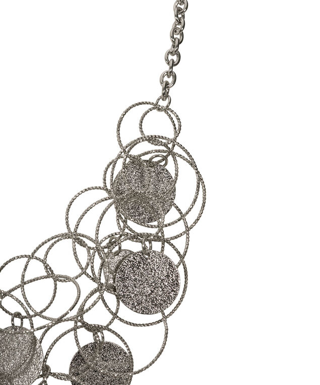 Sanded Disc & O-Ring Necklace, Rhodium, hi-res