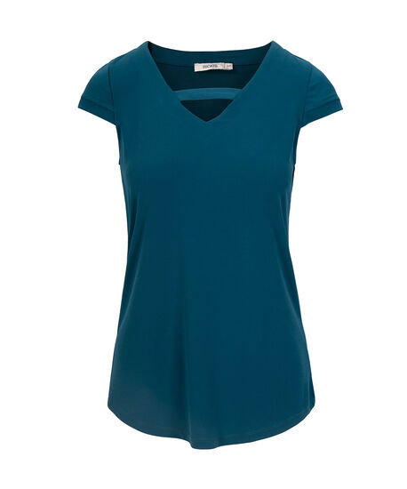 Tab Detail V-Neck Shirttail Top, Midnight Teal, hi-res