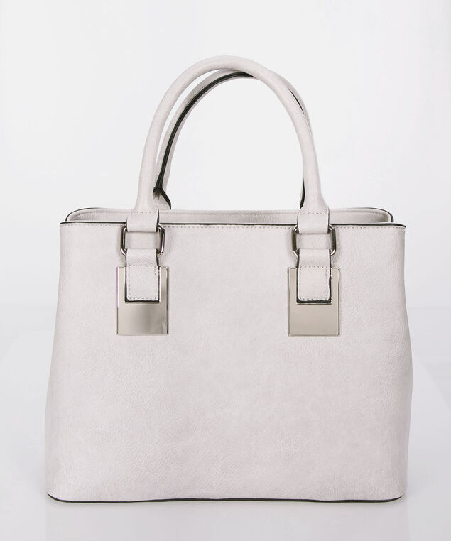 Top Handle Classic Satchel, Light Grey, hi-res
