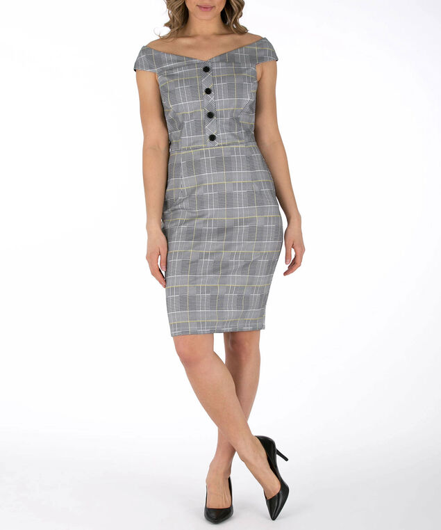 """""""Marilyn"""" Neck Button Plaid Dress, Black/Yellow/Pearl, hi-res"""