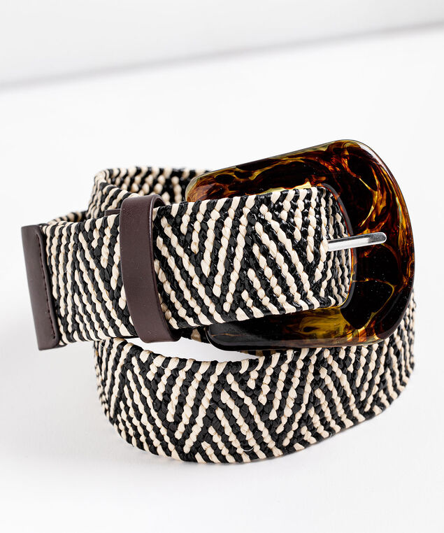 Tortoise Shell & Woven Belt, Brown/Beige