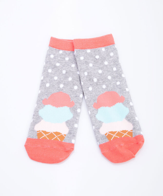 Ice Cream & Polka Dot Ankle Socks, Grey/Pearl/Strawberry/Summer Aqua