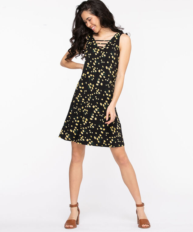 Ladder Trim Swing Dress, Black Pattern