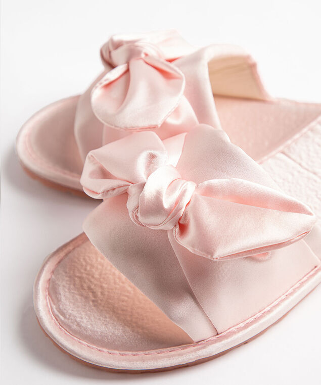 Satin Twisted Bow Slippers, Pink