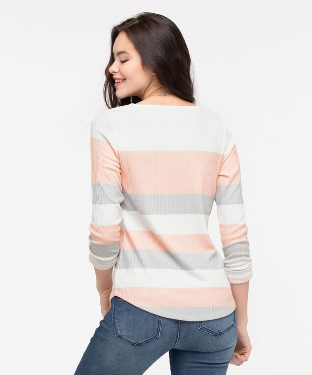 Striped Lightweight Knit Top, Pearl/Grey, hi-res