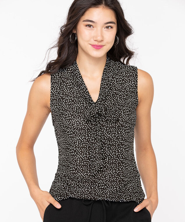 Sleeveless Neck Tie Top, Black/Pearl