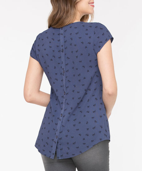 Short Sleeve Button Back Blouse, Blue Fog/Black, hi-res