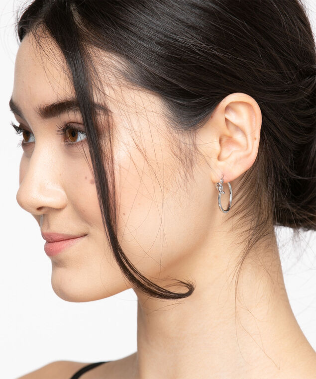 Knotted Hoop Earring, Silver