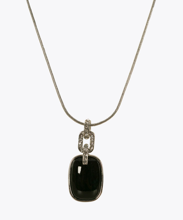 Square CatEye Stone Necklace, Green, hi-res