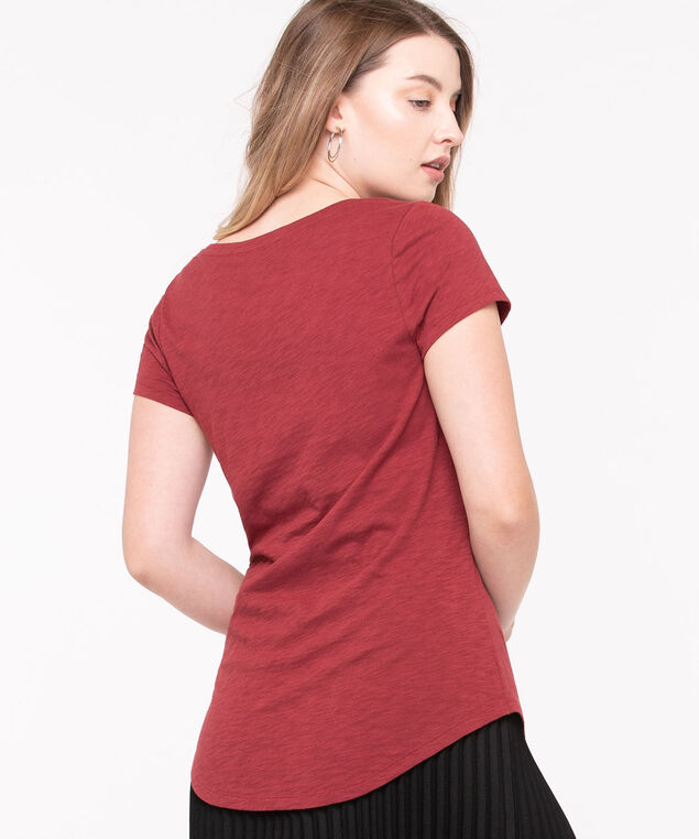 Short Sleeve Scoop Neck Tee, Paprika, hi-res