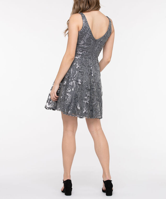 Sequin Deep-V Fit & Flare Dress, Pewter, hi-res