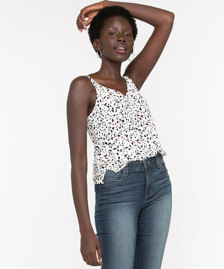 Strappy Mosaic Print Double-V Top, Ivory/Black/Teal/Rust, hi-res