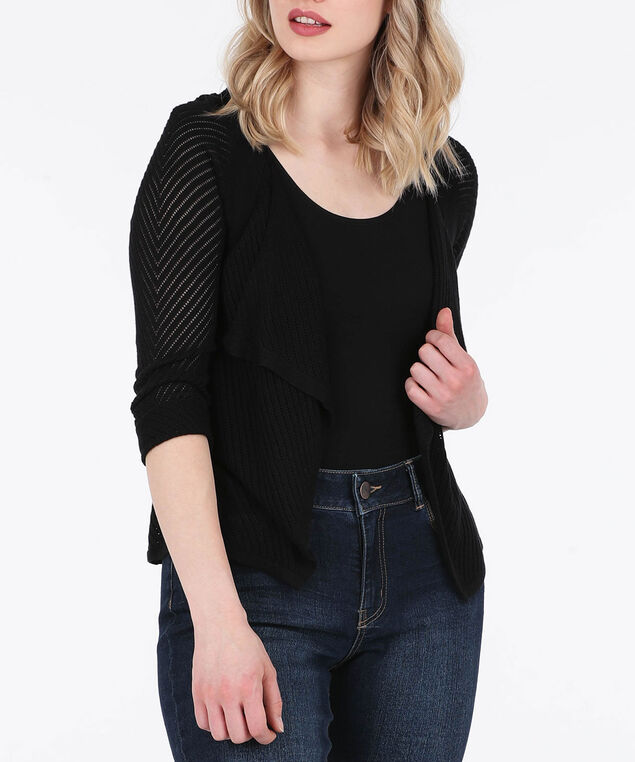 Pointelle Drape Front Cardigan, Black, hi-res