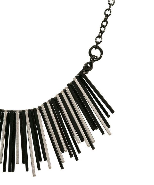 Mixed Metal Statement Necklace, Black/Hematite/Rhodium, hi-res